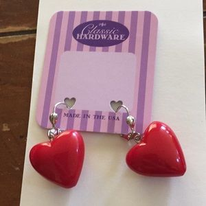 Classic Hardware red heart earrings